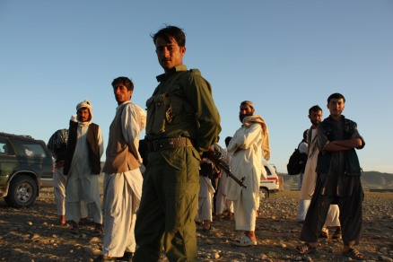 Afghans on cliff