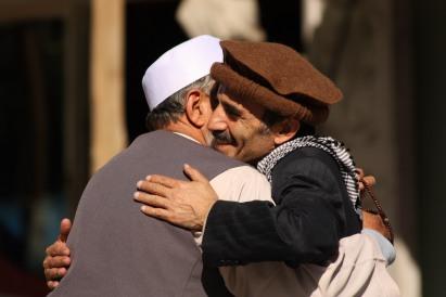 hugging Afghans