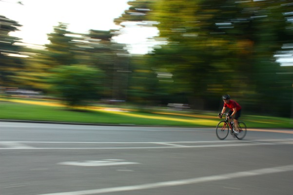 speed biker in park