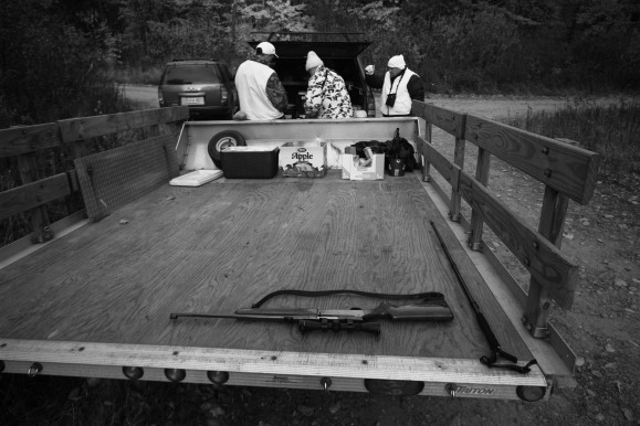 rifle on truck BW