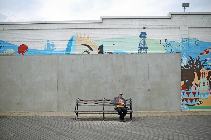 coney island bench fella